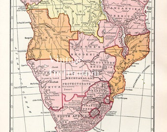 Antique 1950s SOUTH AFRICA Vintage Map atlas page