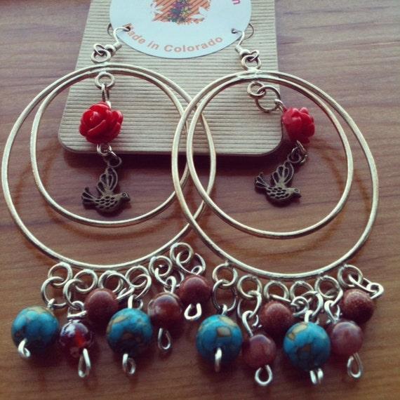 Big Hoop bird Chandelier earrings