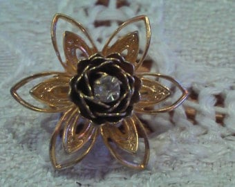 Vintage Diamond Flower Pin Brooch Abstract Flower