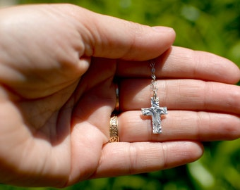 Textured Fine Silver Cross Crucifix Pendant - Modern Antique Necklace - Recycled Eco Silver