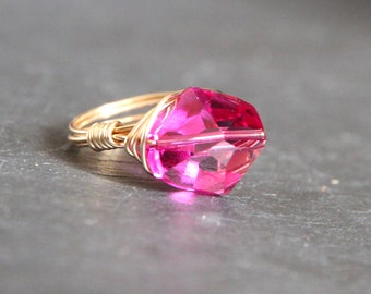 Gem Pops. Fuschia Pink Swarovski Crystal Gold Wire Wrapped Ring. Bridal Customized Gifts
