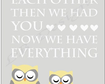 Woodland Nursery Decor, Gray and Yellow Nursery, Owl Nursery Print, Gender Neutral Nursery Decor, Woodland Nursery Art - 8x10