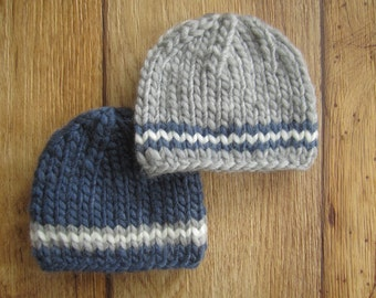 Newborn Grey and Navy Blue Chunky Wool Knit Beanies  - Boy Twin Set - Made to Order Photography Prop