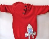 Red Button-Neck Sweater with Rocket Ship (ladies x-small, ooak)