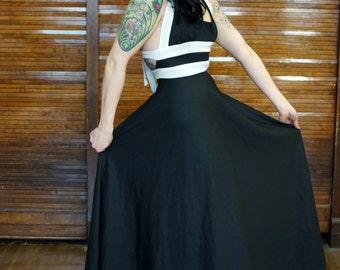 Vtg 70s Black & White Halter Maxi Dress