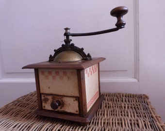 Antique French wooden coffee mill wood coffee grinder Peugeot coffee grinder hand coffee grinder w red lustucru check design from France,