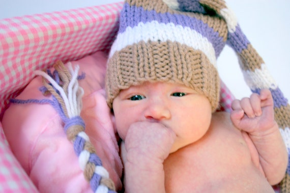 Newborn girl purple, light brown, and white photo prop knitted hat - IN STOCK