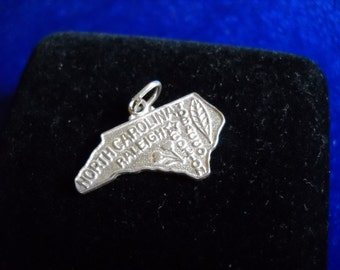 NC State Charm or Pendant, State Map Pendant in Sterling Silver, 2 grams