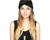 Black Crushed Velvet Turban Headband Stretch Turband