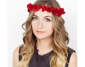 Red Rose Floral Crown Festival Headband