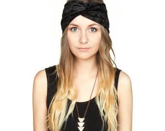 Black Crushed Velvet Turban Headband Stretch Turband