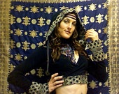 Hooded Shrug Wrap, Ties under Bust, Bell Sleeves, Assorted Colors, option of Exotic Designed Trim,  Tribal Belly Dance, Yoga, Festival