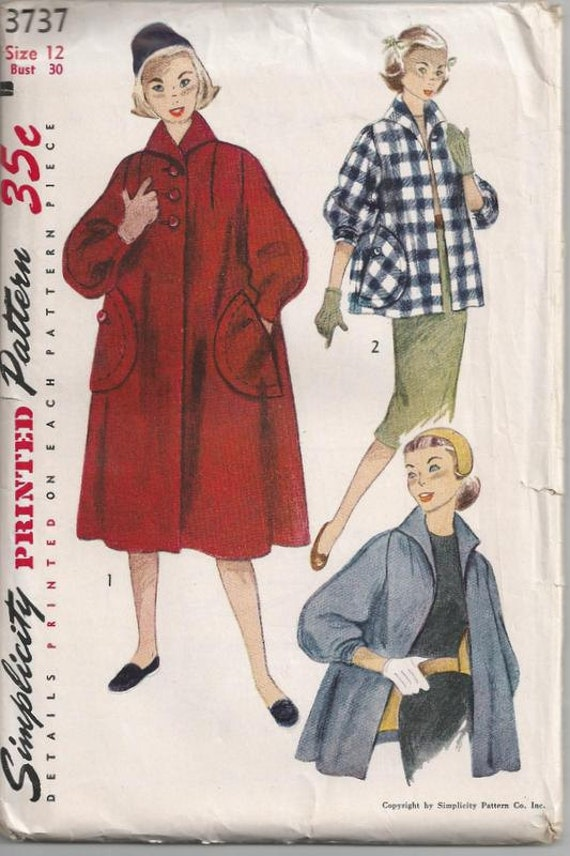 1951 Women's Pyramid Coat and Topper Simplicity 3737 Size 12