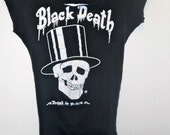 Vintage Black Death Drink In Peace Shirt Deconstructed, Slashed in the back, Rock and Roll, Heavy Metal, Punk