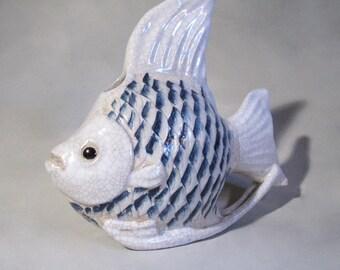 Large Vintage Ceramic Angel Fish Vase, Blue and White, Crackle Glaze