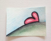 ACEO Original Hilltop Watercolor - With All My Heart Series 15