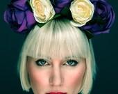 Beautiful Purple and Ivory Rose Headband