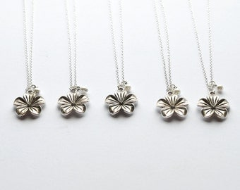Bridesmaid Necklace Discounted Set- Tropical Flower Wedding Jewelry- Bridal Party Gifts, Bulk set, Custom Color- 925 sterling silver