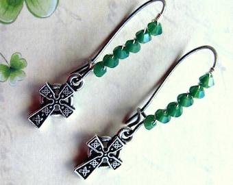 Celtic Cross Earrings, Celtic Earrings, St. Patricks Day Earrings, Green Earrings, Irish Earrings, Cross Earrings, St. Patrick's Day Jewelry