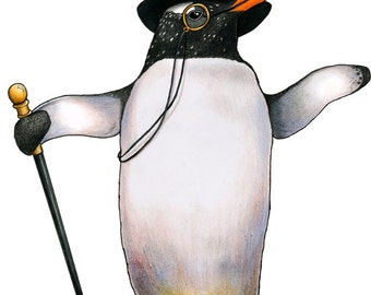 Penguin in a Top Hat: A4 Print