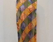 Metallic Jewel Tone Stained Glass Print Chiffon & Satin Scarf / Shawl / Long Scarf 60 x 13.5""