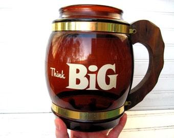 Siestaware mug amber glass brass wood utensil holder think big