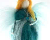 Turquoise Fairy Needle Felted Waldorf Fairy Ornament Fairytale Decoration Soft Sculpture Merino Wool Art Doll