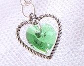 Peridot Swarovski Crystal Heart Necklace - August Birthstone - Silver Heart Charm - Gifts Under 15