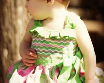 pink baby headband, infant headband, newborn headband - HOT PINK shabby chiffon ruffle flower and rhinestone headband