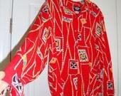 Vintage Red Dockers Women's Blouse, 1980's, Size Medium