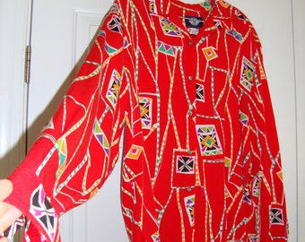 Vintage Red Dockers Women's Blouse, 1980's, Size Medium