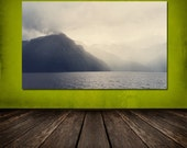 Norway Fjord, Fogged In, North Sea, Storm Approaching - 8x12 10x15 12x18 16x24 Travel Fine Art Photography Grey Ombre