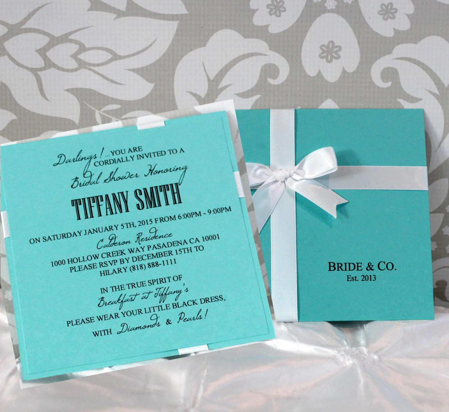 Tiffany Wedding Invitations: Bridal Shower Invitations Set Of 10 In Light Teal And