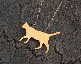 Gold Cat Necklace , Golden Cat Silhouette Charm , Cat Lovers Gift , Cat Jewelry , Kitty Necklace , Cat Pendant , Cat Jewelry ,Gift for Women
