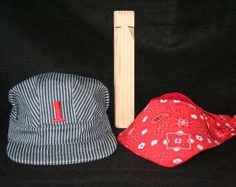 PERSONALIZED Train Hat, Bandanna, and Wood Train Whistle (3 piece set), Thomas Train Set, Train Engineer Set, Train Conductor Set