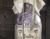 Vintage Milk Bottle with lavender tulip petals