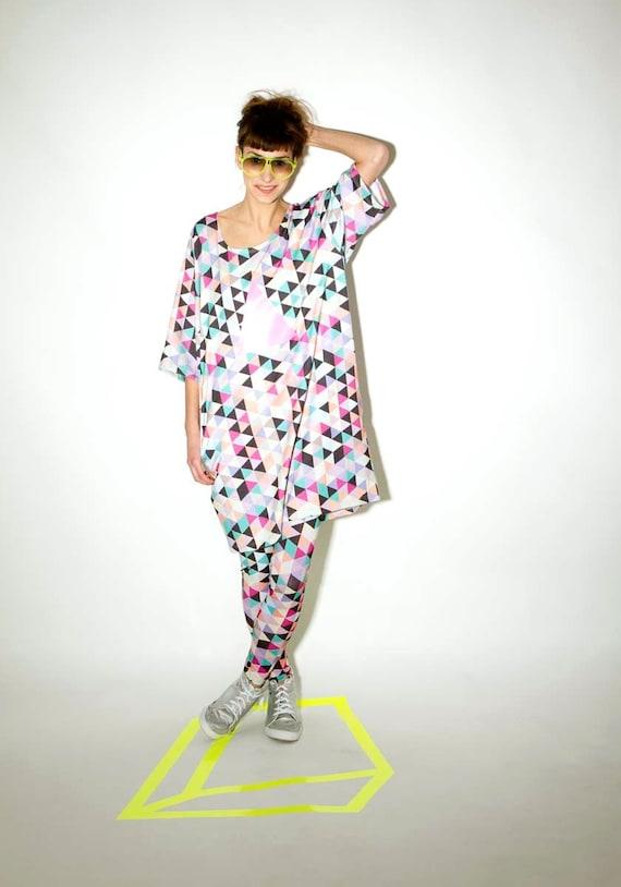 oversized triangles pattern dress. Bamboo/organic cotton