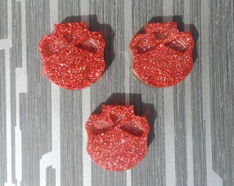 Handmade Glitter Sparkle Red Resin Skulls Cabochon 3 Pieces 33 x 35 mm Gothic Steampunk