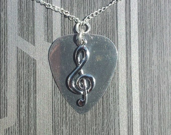 Handmade Stainless Steel Guitar Pick Pendant with Treble Clef Charm on Silver Plated Chain Gothic Steampunk Emo Punk