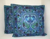 Set Blue Bird 2 Cushions Cover  HMONG Hill Tribe Thailand FAIR Trade Handmade (CS011SET-BB)