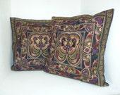 Set Mocca Bird 2 Cushions Cover  HMONG Hill Tribe Thailand FAIR Trade Handmade (CS011SET-MOB)