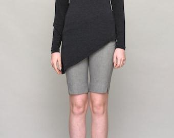 Gray Asymmetric Jersey Top - Gray Jersey - Gray Top