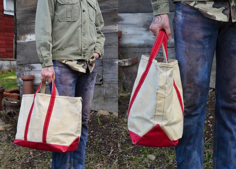 Vintage L L Bean Red Amp White Canvas Field Tote Shopper Bag