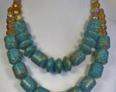 Mosaic Turquoise and Amber Glass Double Strand Necklace