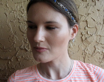 Silver Plated Link Chain Royal Blue Beaded Elastic Headband, for weddings, parties, special occasions