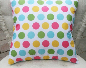 Riley Blake Pillow Cover, Polka Dot Pillow Cover, Chevron Pillow Cover, Nursery, Accent Pillow, Home Decor, Easter Pillow