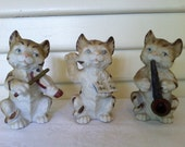 Vintage Musical Themed Cat Figurines- Made in Occupied Japan