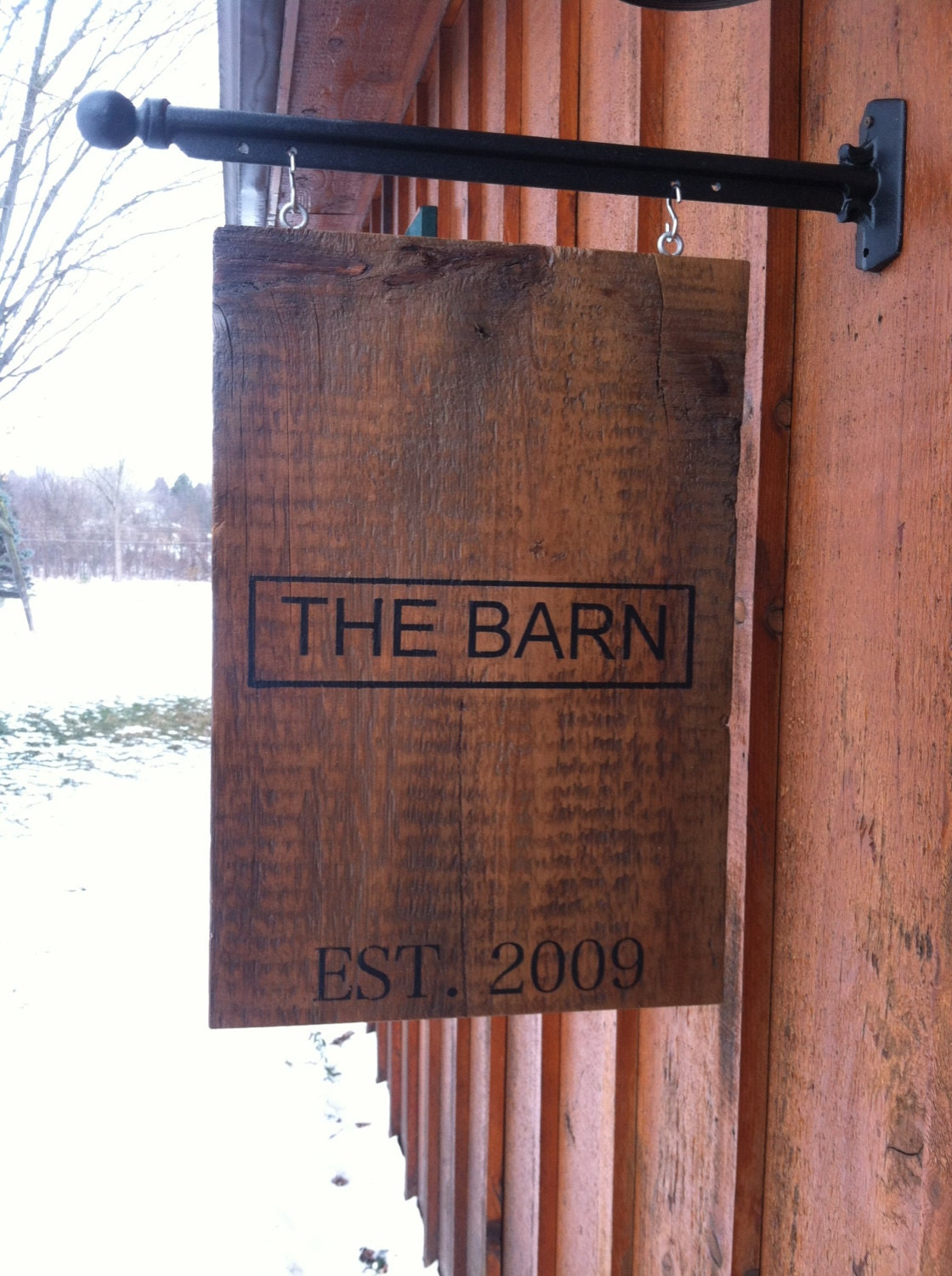 Old Barn Door And Bbots Personalized Sign Hanging From