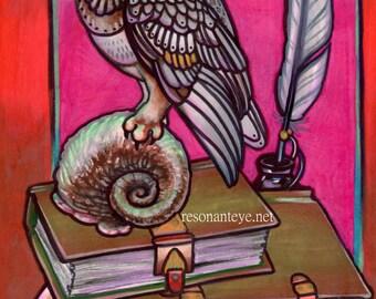 brown owl art, tattoo art, library tattoo, wisdom DIGITAL DOWNLOAD