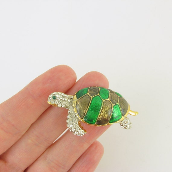 Vintage 1970s Turtle Enamel Brooch w/ Rhinestones in Emerald Green